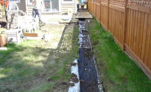 Side yard curtain drain protecting from subsurface water from above grade