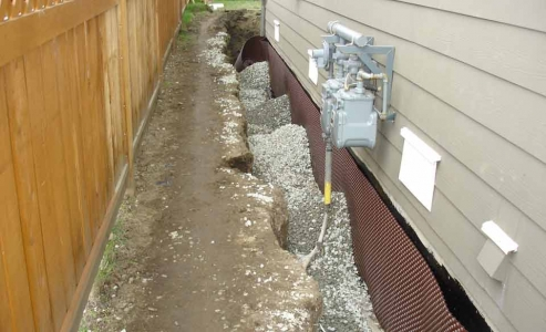 Typical drainage material over perimeter system